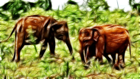 Young Elephant and his family eating hay Animation