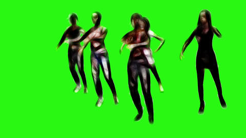 Creepy zombies in bloody clothes walking on the green screen Animation