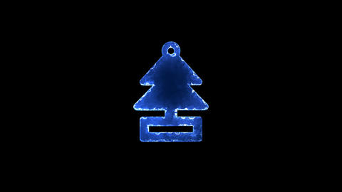 Symbol air freshener - tree, solid. Blue Electric Glow Storm. looped video. Animation