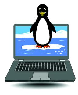 Laptop with the penguin coming out of the display, cute label for computer Vector