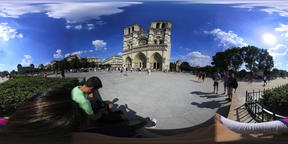 360 vr video of tourists in world famous Notre Dame cathedral square VR 360° Video