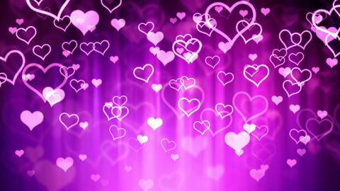 Falling Pink Glassy Hearts Animation