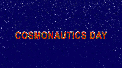 New Year text celebration COSMONAUTICS DAY. Snow falls. Christmas mood, looped Animation