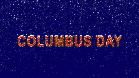 New Year text celebration COLUMBUS DAY. Snow falls.... Stock Video Footage