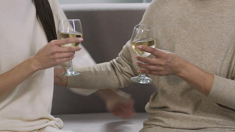 Two women drinking wine on the sofa, long-awaited meeting of two close friends Footage