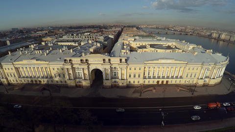 Aerial view. Senate and Synod. The Constitutional Court in St. Petersburg. 4K Footage