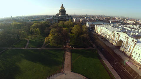 Aerial view. St. Isaac's Cathedral in St. Petersburg. 4K Live Action