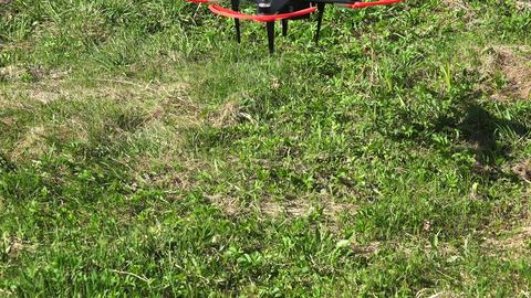 Engine starting. Flying drones. 4K Footage