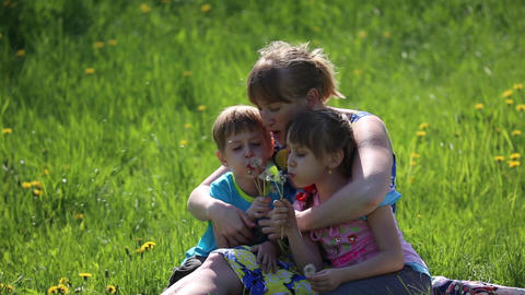 The mother with children blowing on a dandelion Footage