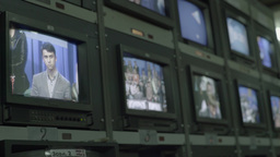 Monitors with TV broadcast in the TV Studio Footage