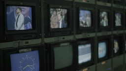 TV monitors during the recording of live broadcasts in the TV Studio Footage