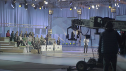 The crane with the camera in the TV Studio Footage