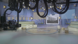 TV equipment in the empty TV Studio . TV show Footage