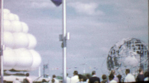 1964: Crowds travel by foot, bus and tramway to EXPO New York World's Fair Footage