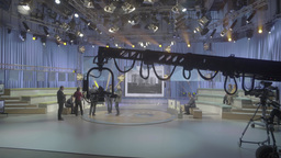 TV Studio before recording the TV debates. TV show Footage