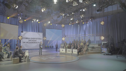 Big TV Studio with a presenter and the audience Footage