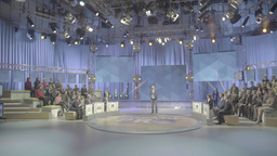 Big TV Studio with spectators and TV leading Footage