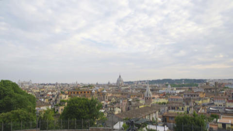 Curious tourists came to observation deck to enjoy breathtaking view of Rome Live Action