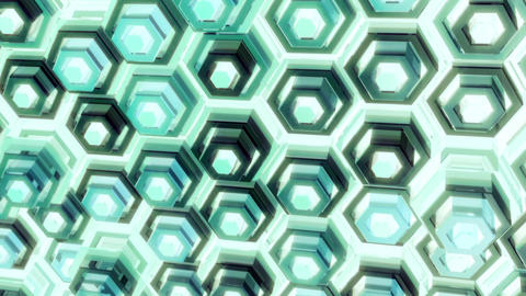 Looped Abstract Geometric Background with Glossy Hexagon Surfaces GIF