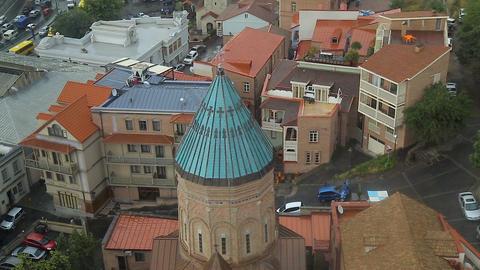 Top view of Ejmiatsin Church, Armenian Apostolic church in Old Tbilisi, Georgia Live Action