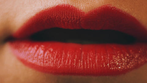 Sensual red womans lips Footage