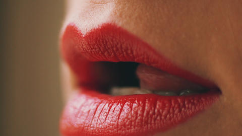 Sensual red womans lips Archivo