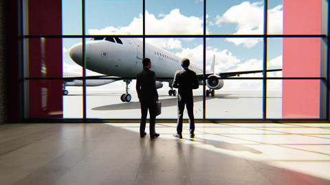 Time lapse with two businessmen talking in the airport. Trip or travel concept Animation
