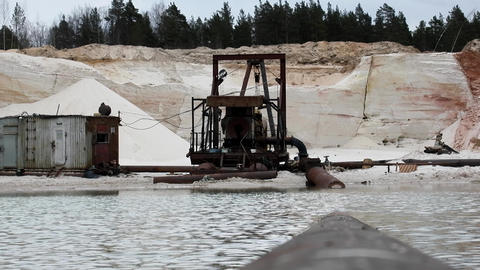 Sand extraction, sand quarry sandpit sand occurrence Footage