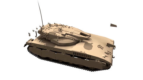 Assembling a battle tank in parts in motion White background Animation Animation