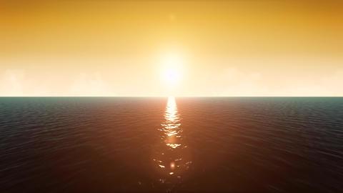 4k Sunset Ocean Landscape Loop Animation