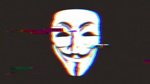 Anonymous Mask Icon On Bad Old Film Tape Animation