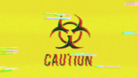 Caution Hazard Icon On Bad Old Film Tape Animation