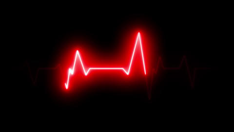 4k Electric Heart Pulsation Wave Signal Animation