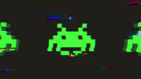 Retro Space Invader Icon With Distortion And Glitch Effect Animation