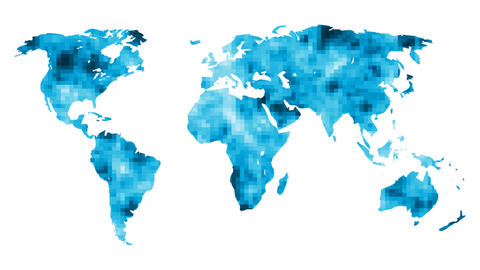 World Map With Mosaic Background Stock Video Footage