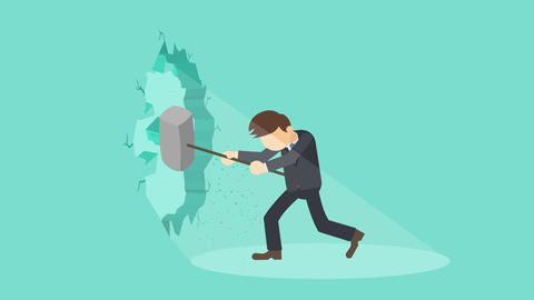 Business man breaking the wall. Freedom and challenge concept. Loop illustration Animation
