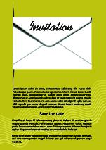 Invitation template with mailing envelope, 3d illusion, white envelope on golden Vector