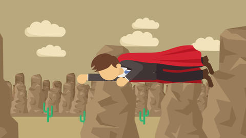 Super Hero business man flying in suit and red cape.... Stock Video Footage