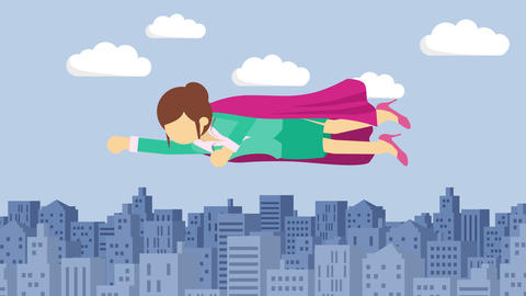 Super Hero business woman flying in suit and red cape. Leadership and Animation