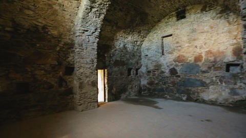 Remains of ancient stone castle inside view, architectural heritage, history Live Action