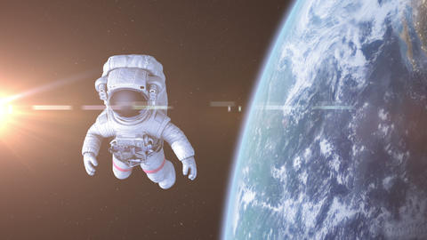 Astronaut in Space CG動画素材