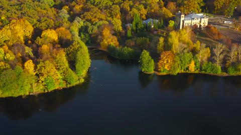 Aerial view of the lake, manor and the bright autumn forest on its shore. Forest Footage
