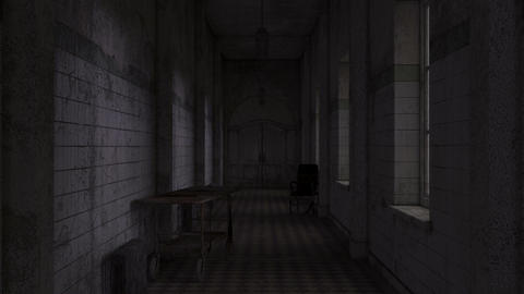 corridor of the psychiatric hospital with a skeleton GIF