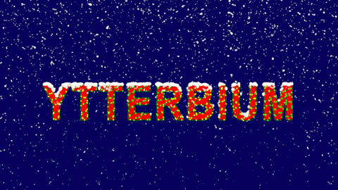 New Year text Element of periodic table YTTERBIUM. Snow falls. Christmas mood, GIF