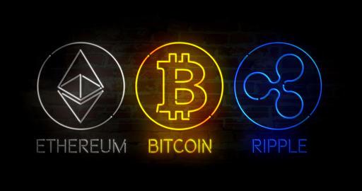 Bitcoin ethereum ripple neon Animation