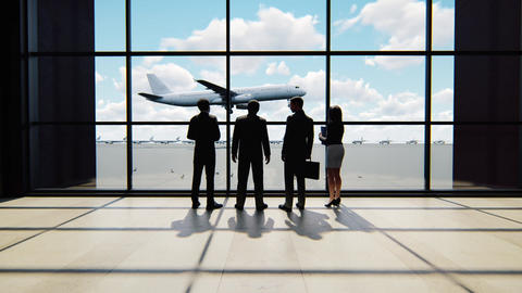 Businessmen talking in the airport. Trip or travel concept Animation
