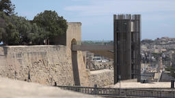 Malta Valletta city wall with upper platform of the Barrakka Lift GIF