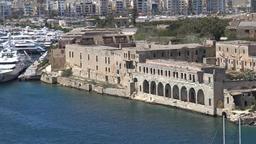 Malta Valletta two masted sailing boat goes to Manoel Island Yacht Marina GIF