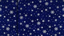 Dark blue curtains with snowflakes move apart in different directions. With CG動画素材