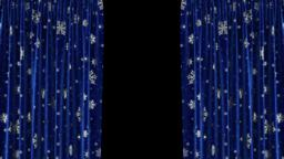 Dark blue curtains with snowflakes move apart in… Stock Video Footage